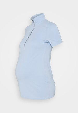 ZIP UP WITH HIGH COLLAR AND SHORT SLEEVES - Triko spotiskem - blue