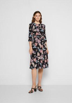 FELIA LONG SLEEVE - Jersey dress - black/garnet/multi