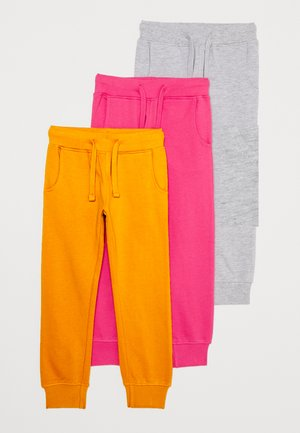 3 PACK - Tracksuit bottoms - berry/light grey/ochre