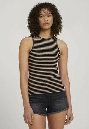 Top - black beige stripe