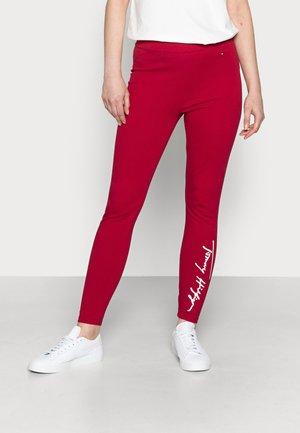 STRETCH SCRIPT  - Leggings - Trousers - red