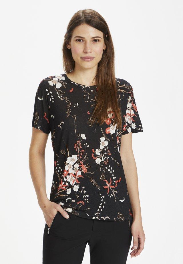 Basic T-shirt - black botanical bouquet