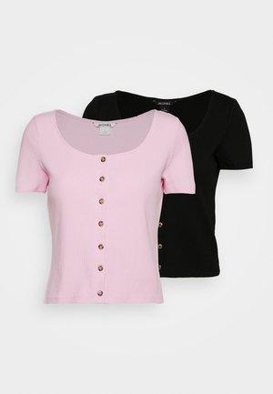 QUINNY TOP 2 PACK - Print T-shirt - pink light/black