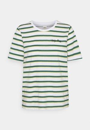 ONLINC LIFE O-NECK STRIPE TEE - Print T-shirt - white/mallard green/dusky citron