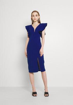 V NECK RUFFLE SLEEVE MIDI DRESS - Cocktail dress / Party dress - navy blue