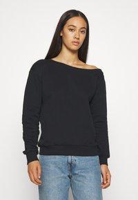 Even&Odd - LOOSE OFF SHOULDER SWEATSHIRT  - Sweater - black - 0