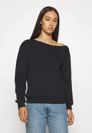 Off Shoulder Loose Sweatshirt - Collegepaita - black