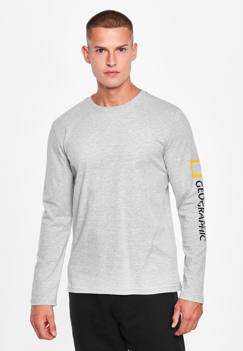 National Geographic - MIT PRINT - Long sleeved top - light grey melange