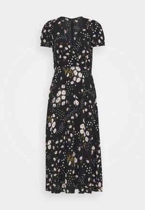 CREWNECK DRESS FLORAL - Denní šaty - black