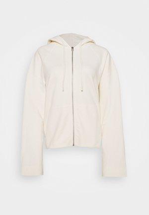 HOODY ZIP FRONT KANGAROO POCKETS GATHERED BACK - Zip-up sweatshirt - white sand