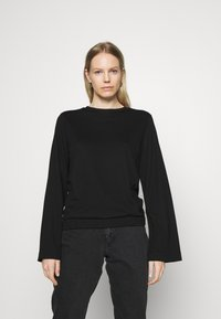 Marc O'Polo PURE - CREW NECK ZIPPER AND ASYMETRICAL HEMLINE - Langærmede T-shirts - pure black - 0