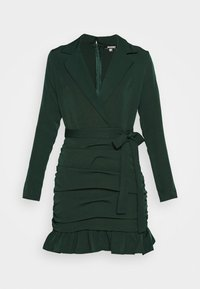Missguided - RUCHED FRILL HEM - Cocktail dress / Party dress - dark green - 4