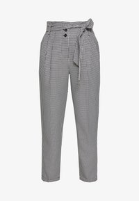 Miss Selfridge Petite - CHECK PAPERBAG TROUSER - Trousers - black - 4