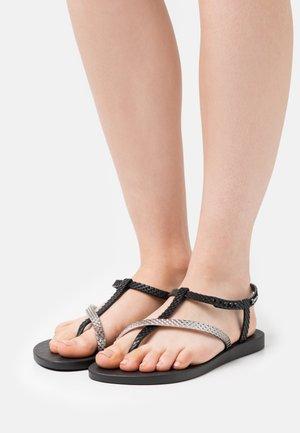 CLASS WISH - T-bar sandals - black/metallic silver