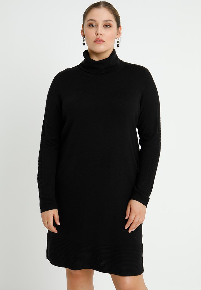 ROLLNECK DRESS LONG SLEEVES - Strikket kjole - black