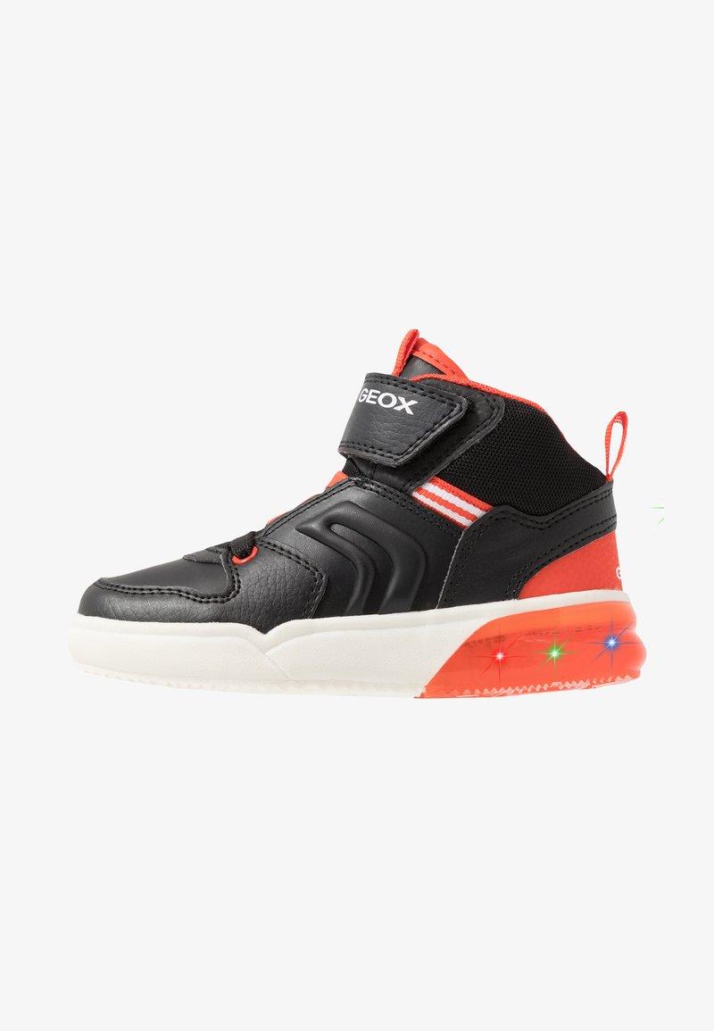 Geox - GRAYJAY BOY - Sneakersy wysokie - black/dark orange