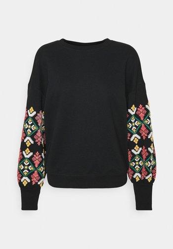ONLBROOKE O NECK FLOWER - Sweatshirt - black