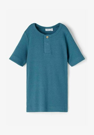 SLIM FIT GERIPPT - T-shirt basic - real teal