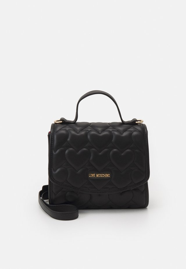 HEART QUILTED TOP HANDLE CROSSBODY - Handtas - nero