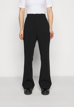 SLIM FLARE STRUCTURED SOLID - Trousers - black