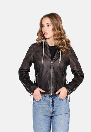 LYLLI - Leather jacket - dark anthra