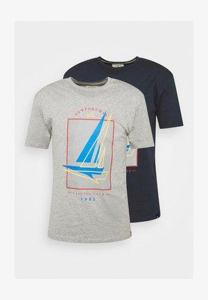 BOAT 2 PACK - Camiseta estampada - dark blue/grey marl