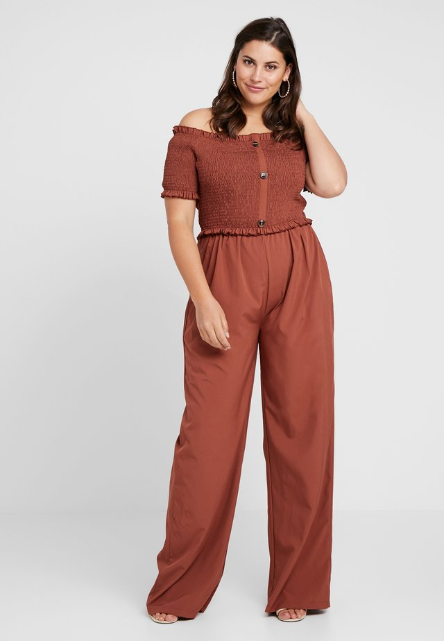 SHIRRED HORN BUTTON BARDOT - Tuta jumpsuit - brown