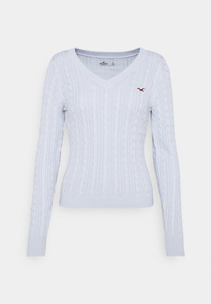 ICON CABLE V NECK - Pullover - light blue
