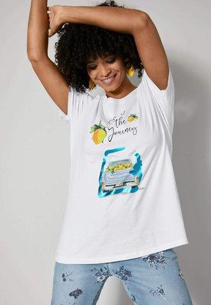 Print T-shirt - weiß gelb blau
