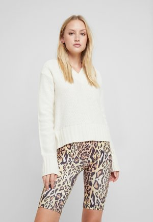 V NECK CROPPED - Jumper - white
