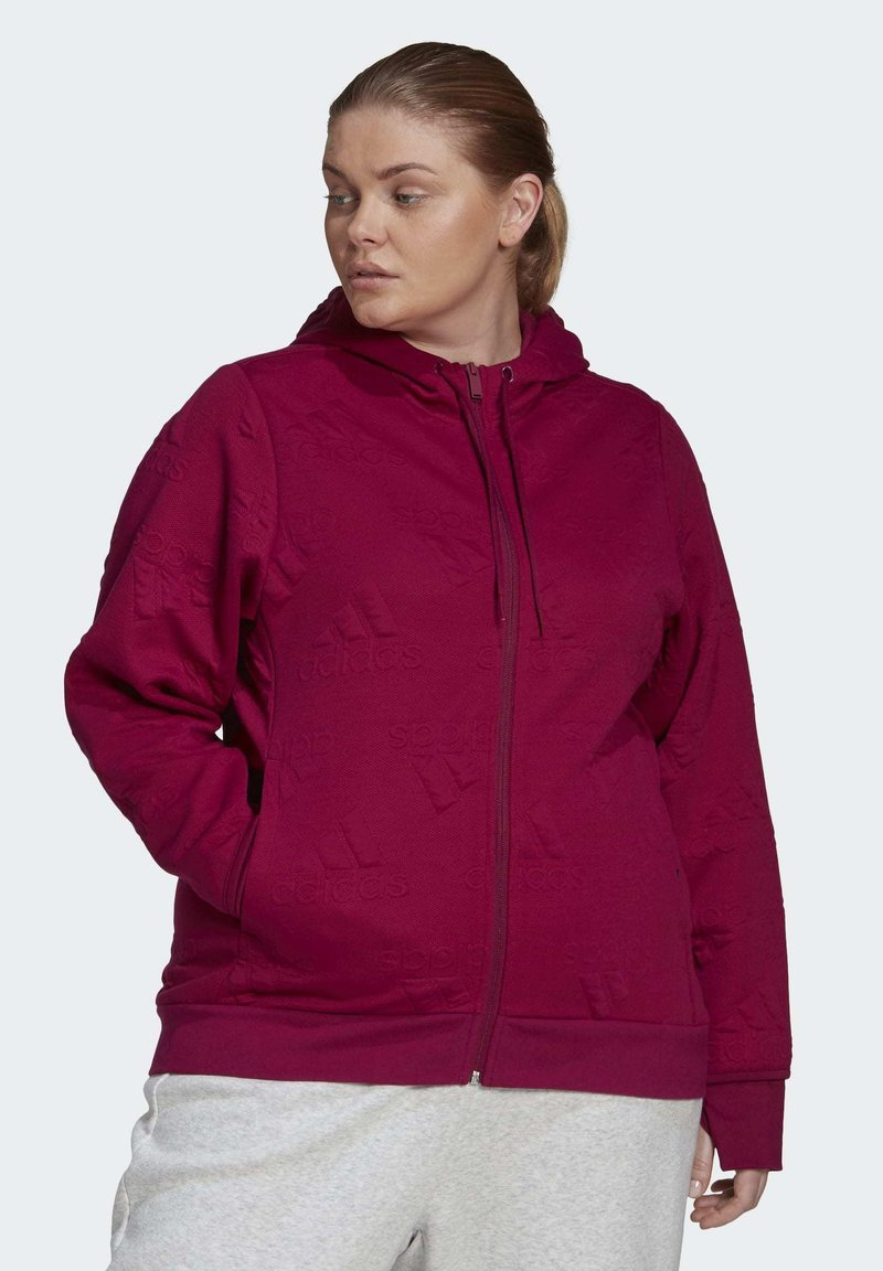 adidas Performance - AEROREADY JACQUARD FULL-ZIP LOGO HOODIE (PLUS SIZE) - Sudadera con cremallera - purple