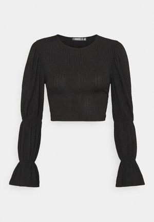 RIB PUFF SLEEVE TIE BACK CROP - Long sleeved top - black