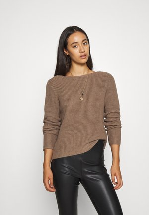 BASIC- BACK DETAIL JUMPER - Stickad tröja - light brown