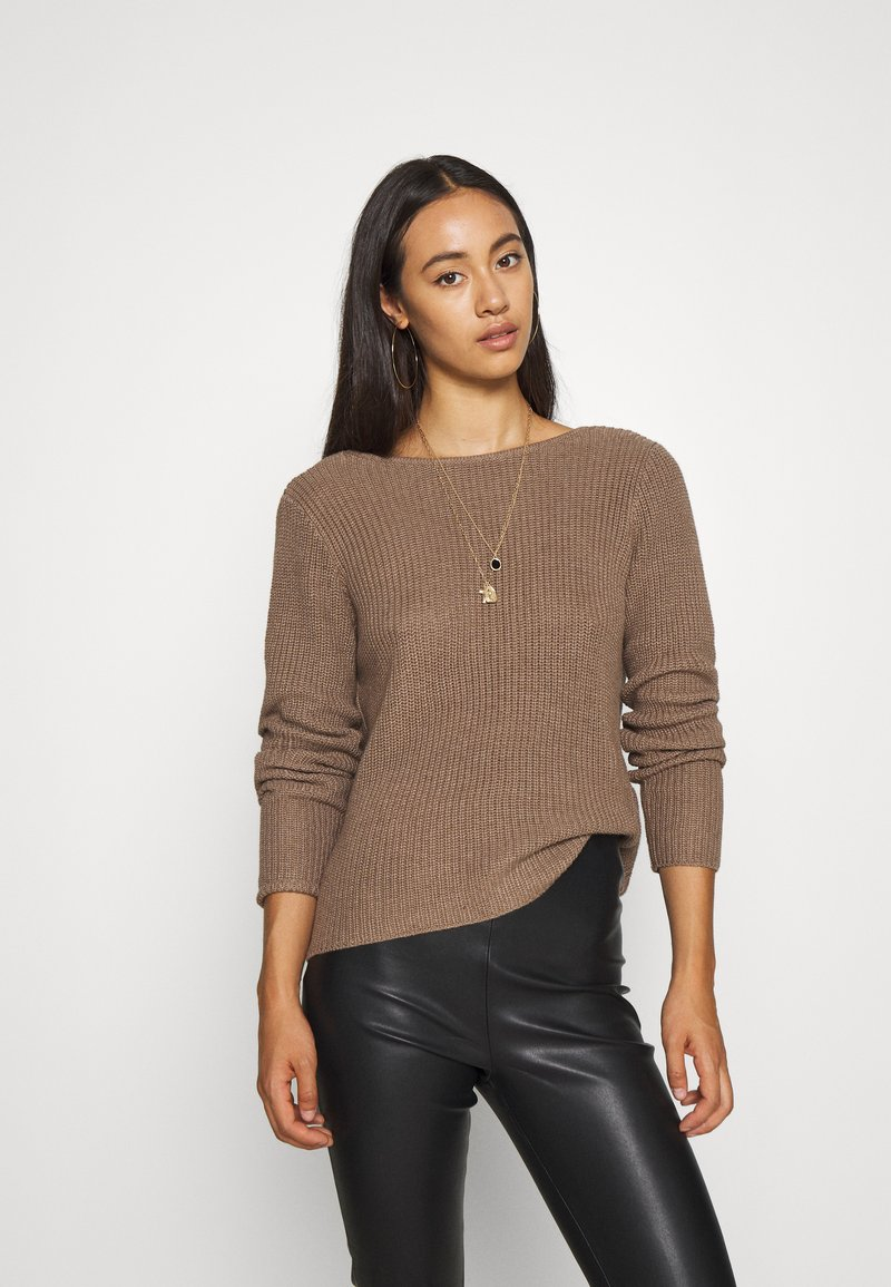 Even&Odd - BASIC- BACK DETAIL JUMPER - Stickad tröja - light brown
