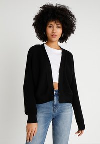 Even&Odd - BASIC- SHORT OPEN CARDIGAN - Vest - black - 0