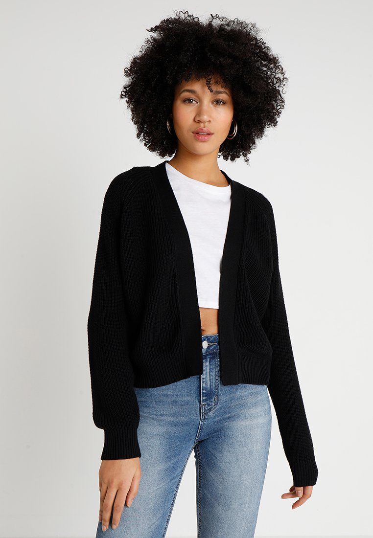 Even&Odd - BASIC- SHORT OPEN CARDIGAN - Vest - black