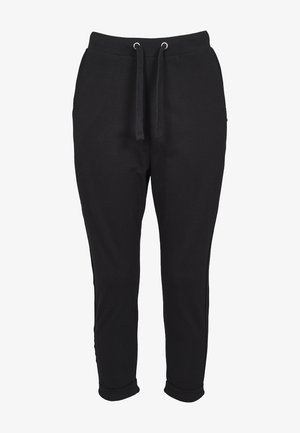 LADIES OPEN EDGE TERRY TURN UP PANTS - Tracksuit bottoms - black