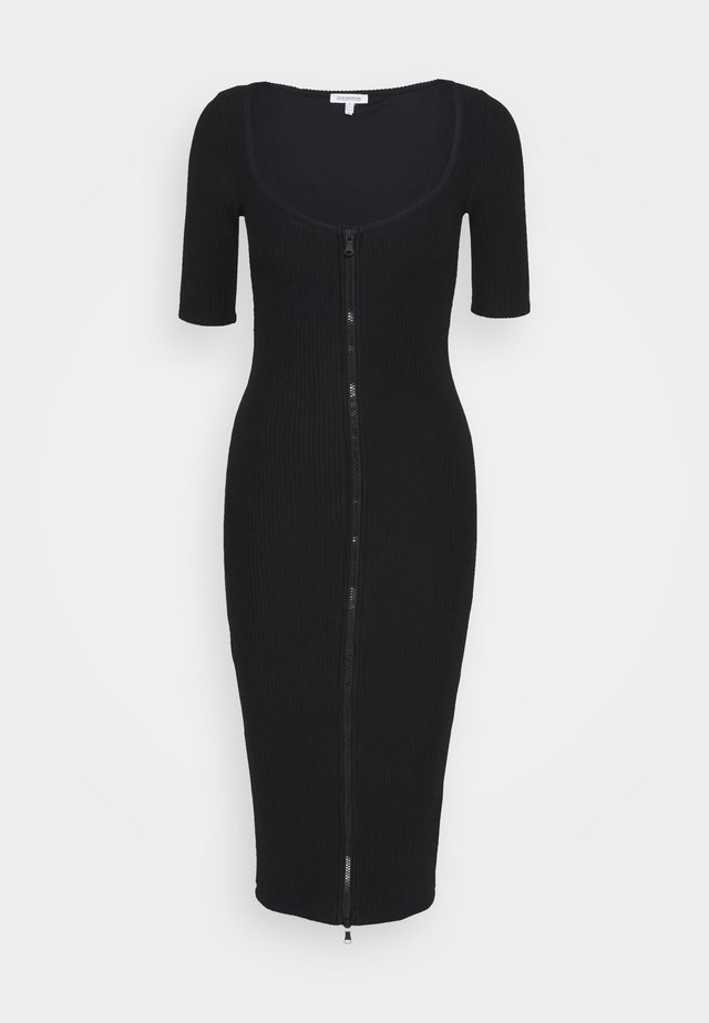 ZIP FRONT MIDI DRESS - Kotelomekko - black