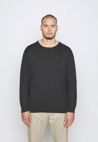 TOM TAILOR MEN PLUS - Jumper - black grey melange - 2