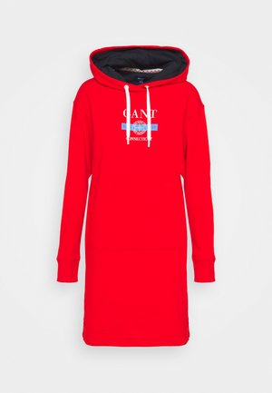 NAUTICAL HOODIE DRESS - Day dress - lava red