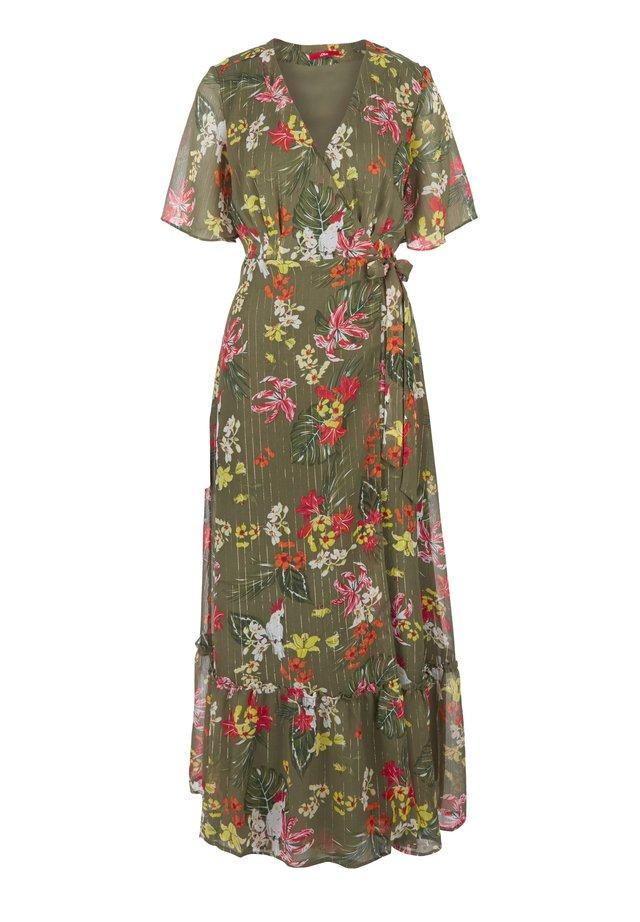 CHIFFONKLEID MIT CACHE COEUR-AUSSCHNITT - Korte jurk - olive aop