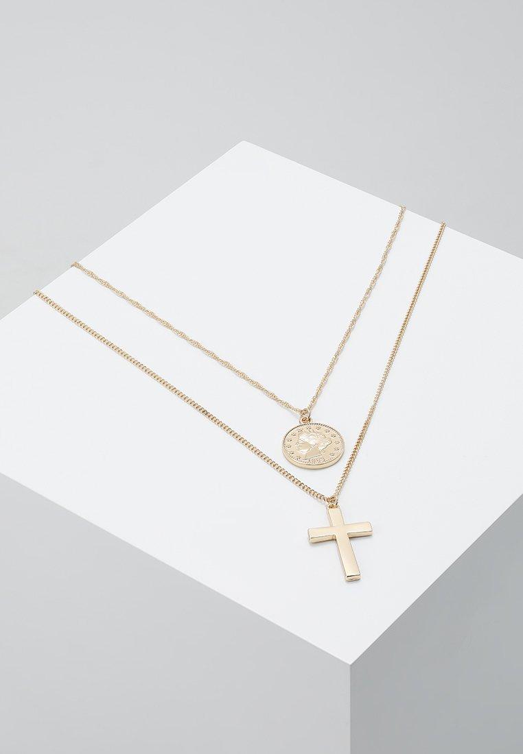 Burton Menswear London - COIN & CROSS MULTI ROW 2 PACK  - Ketting - gold-coloured