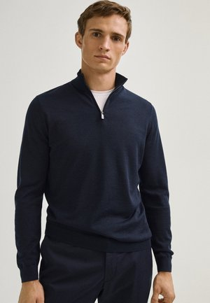 MIT STEHKRAGEN - Pullover - blue-black denim