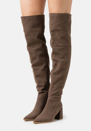 LOW BLOCK HEEL BOOTS - Over-the-knee boots - mink