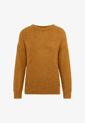 OVERSIZE- IN PATENTSTRICK - Strickpullover - curry