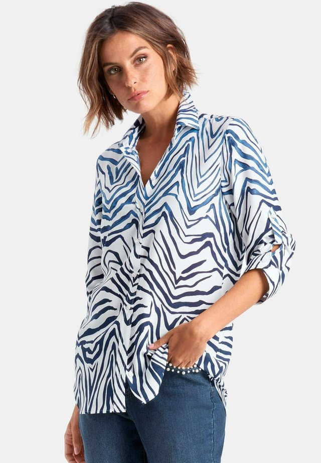 MIT 3/4 ARM - Button-down blouse - blue/white