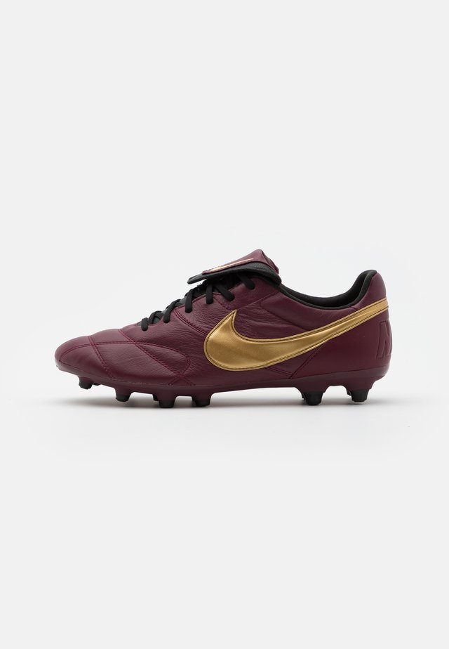 PREMIER - Moulded stud football boots - dark beetroot/metallic gold/black