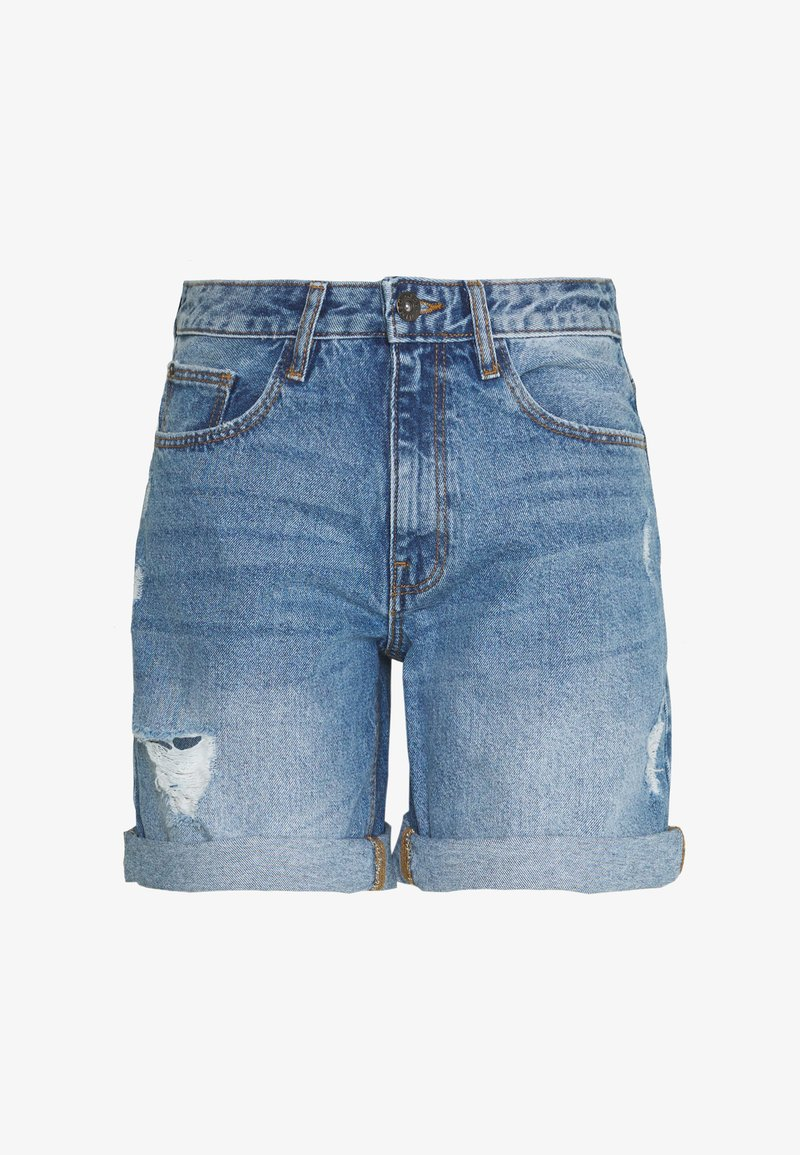 JDY - JDYSELMA GIRLFRIEND SHORTS  - Denim shorts - medium blue denim