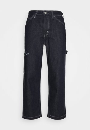 TAPER CARPENTER CROP - Vaqueros rectos - dark indigo