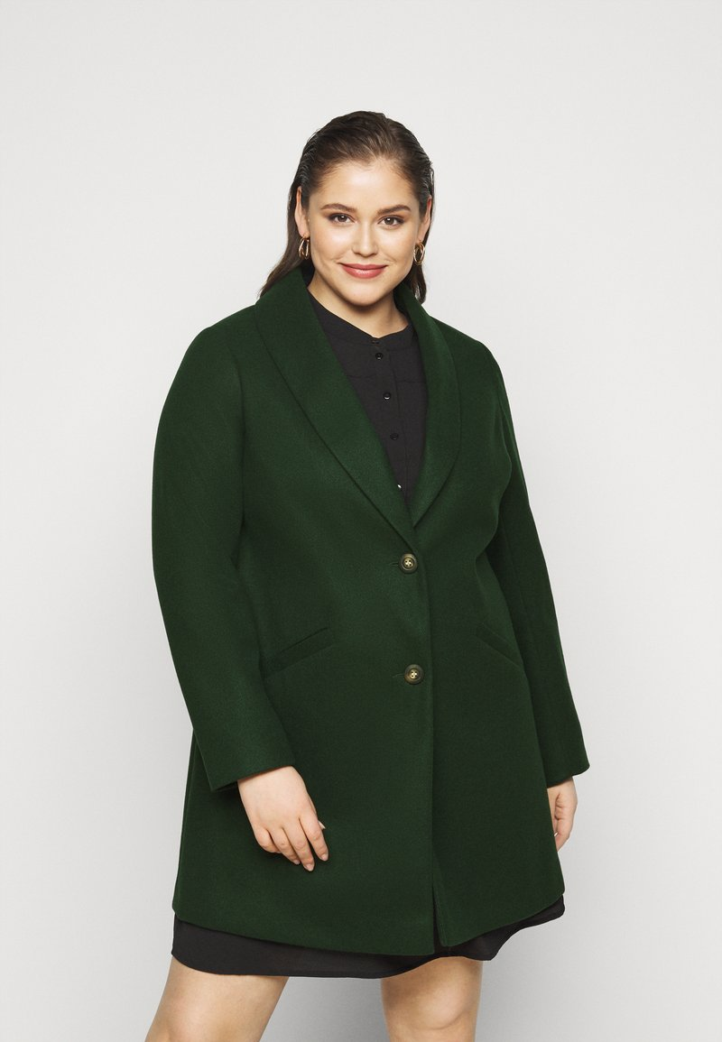 Dorothy Perkins Curve - MINIMAL SHAWL COLLARCROMBIE COAT - Short coat - green